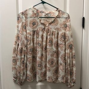 *NWT* Lucky Brand Sheer Floral Blouse